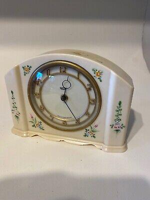 Art Deco Bakelite Smiths Clock Hand Painted Floral Design For Restoration