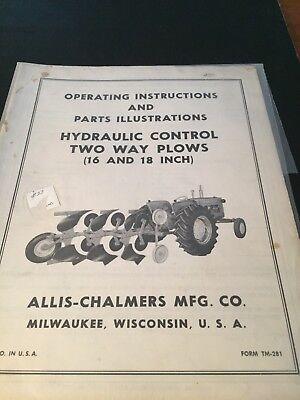 Original Allis-chalmers Plows Tm-281 Operators Manually