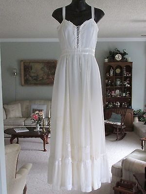 Vintage 70s Dress Boho Wedding Prairie White Lace Corset Maxi