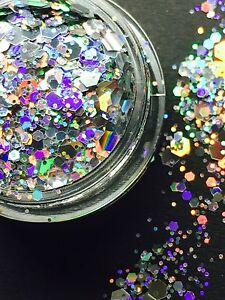 Holo Glitter-Mix Funkelnd Hexagon Silber Nailart Nageldesign
