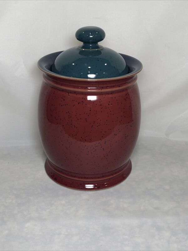 DENBY LANGLEY HARLEQUIN 6-INCH RED STONEWARE STORAGE JAR WITH GREEN LID ENGLAND