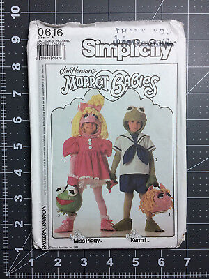 Simplicity #9346 ~ Costume Pattern Kermit Miss Piggy Muppet Child 2 - 8 ~ FF UC