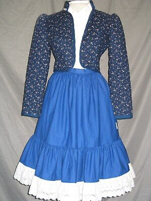 Western Dress Victorian Costume Prairie Style Old West 1800s Blue Outfit - 1800 Dress Costume