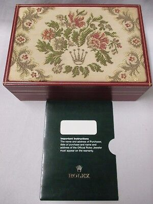 - Vintage ROLEX SA Embroidered Tapestry Red Watch Box 60.01.2 with Warranty Sleeve