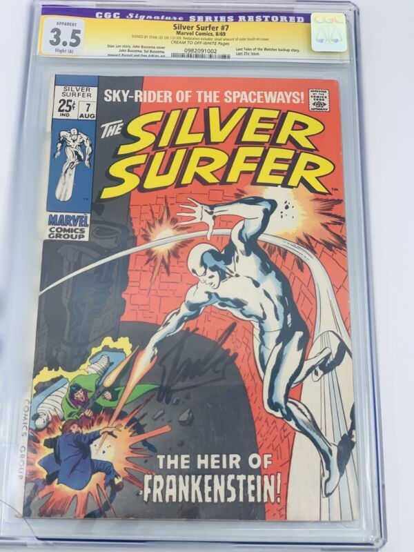 Silver Surfer #7 1969 CGC 3.5 Signature Series Restored Signed Stan Lee Avengers