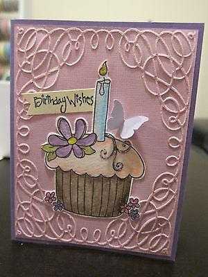 Stampin Up  Birthday Wishes  Pink Cupcake Embossed Glitter Handmade Card