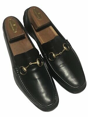 Gucci Women's Black Leather Horsebit Driver Loafers - Size 9.5 B  Made in Italy