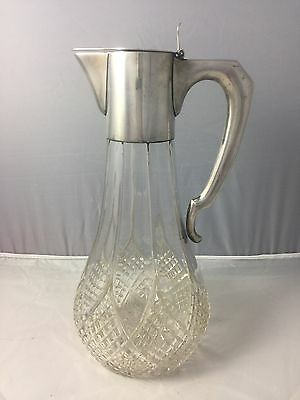 Antique Austro-Hungarian .800 Silver Claret Jug Pitcher Cut Glass Signed