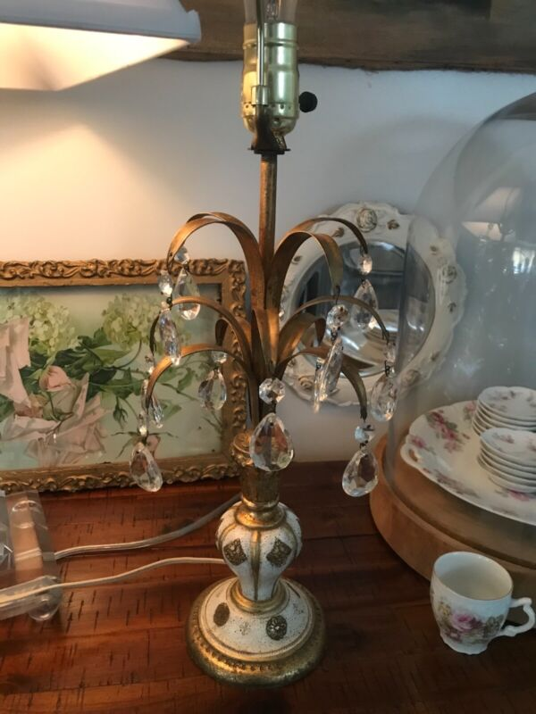 Vintage Italian Florentine tole  table lamp with Crystals.