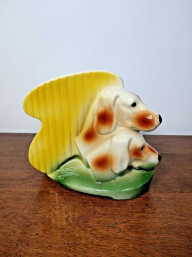 VINTAGE TWO DOGS HEAD VASE - AMERICAN BISQUE - WONDERFUL COLORS AND GLAZE