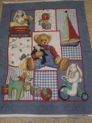 Daisy Kingdom BLUE JEAN TEDDY Unfinished Prequilted Baby Quilt Panel to (Blue Jean Teddy Curtain)