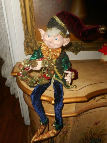 """DAPPER PIXIE ELF DOLL, IN GREEN, BURGUNDY, NAVY AND GOLD, 36"""", NEW, NICE FACE"""