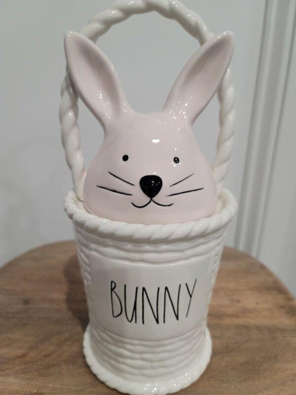 """Rae Dunn 2021 Easter Bunny Basket Canister """"BUNNY"""""""