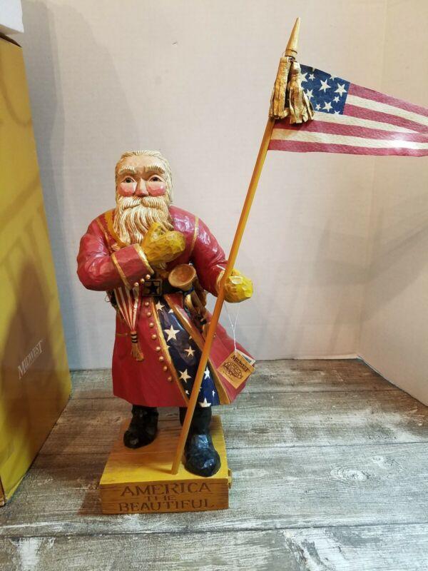 Rare Pam Schifferl America The Beautiful Patriotic Santa w/tag
