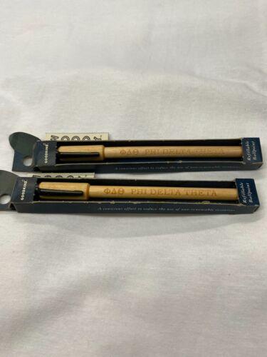 Set of 2 Phi Delta Theta Woody Wood Writing Pens NEW, NOS, RETRO, RETIRED