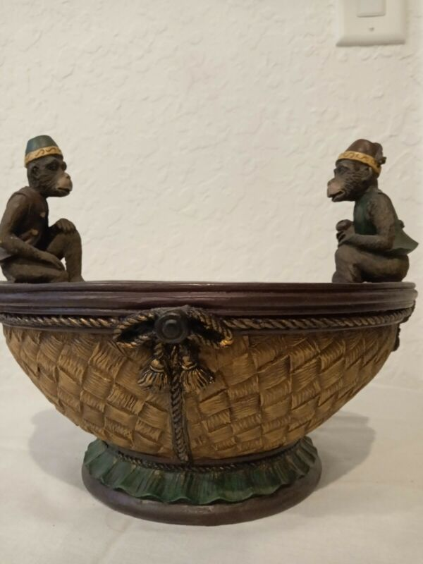 Moroccan Monkeys With Fez Hat Resin Storage Fruit Bowl