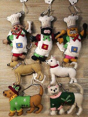 HAND MADE CROSS STITCH FELT CHRISTMAS APPLIQUE ORNAMENT DOG CAT XMAS EMBROIDERY