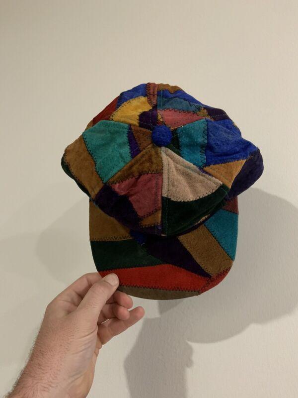Insane 1990's Leather Pathwork Hat DEADSTOCK