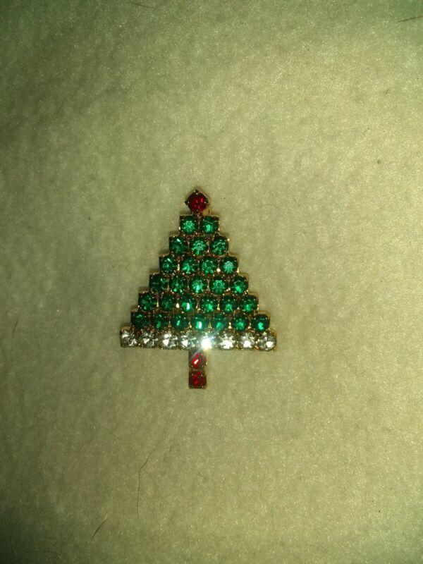Vintage Rhinestone Christmas Tree Brooch Lapel Pin