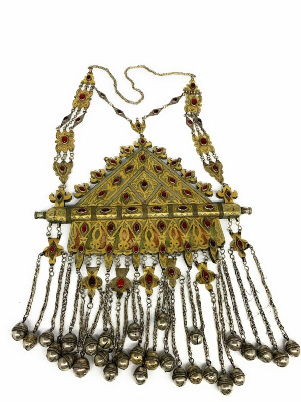 """1100g, 33"""", Turkmen Necklace Old Vintage Huge Gold-Gilded Tomar Statement Boho,"""