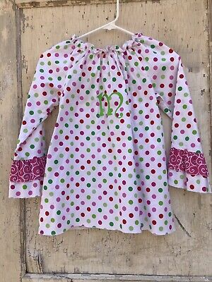 "Girls LOLLY WOLLY DOODLE Monogram Shirt Initial ""M"" Size 10 - Monogrammed Girls Clothes"