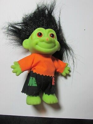 "VINTAGE HALLOWEEN FRANKIE TROLL DOLL 4.5"" DECOR RUSS BLACK HAIR STITCHES ON FACE"