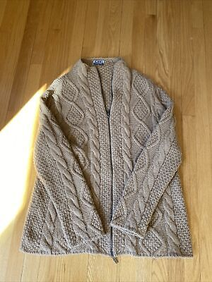 Iceberg Jeans Cardigan Sweater Jacket Zipped Camel Color Men's L Made in Italy