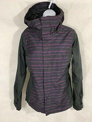 Oakley Womens Black Purple Striped Ski Snowboarding Vented Hooded Jacket Sz S/P