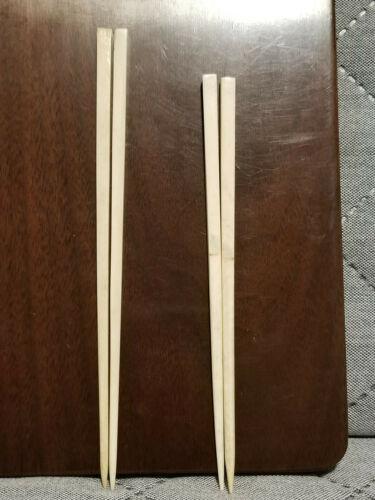 Antique / Vintage Japanese Carved Bovine Bone Travel Chopsticks / Lot Of 2