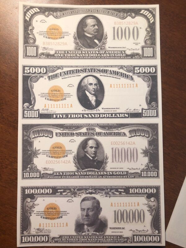 Copy 1934 Gold $1,000-$100,000 Uncut Reproduction Currency Money Sheet