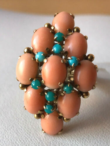 ANTIQUE VINTAGE ESTATE 14K YELLOW GOLD CORAL TURQUOISE LARGE RING STATEMENT