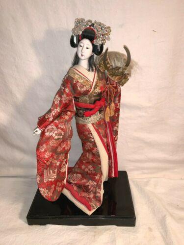 "Vintage 1960s 1970s 17"" tall Japanese GEISHA GIRL Doll VERY ORNATE Silk Dress"