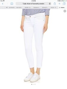 Aritzia Citizens of humanity white ankle skinny jeans