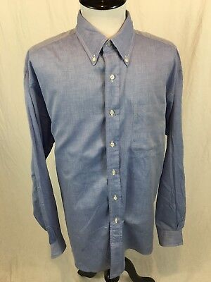 Vintage Brooks Brothers USA Made Oxford Shirt Dress Men's Size 17 - 6 Blue