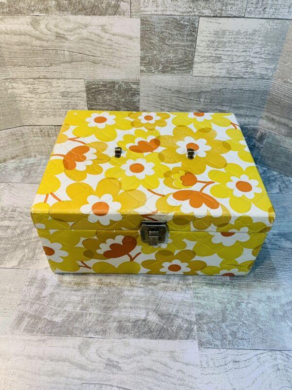 Vintage Bogene Sewing Box Floral Flower Pattern Yellow Orange Latch No Handle