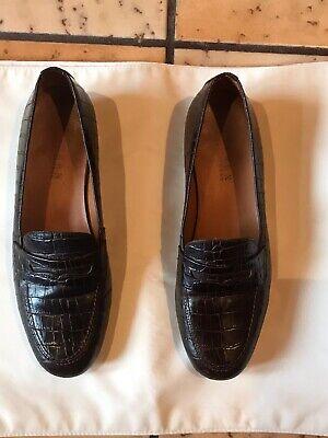 Ralph Lauren Alligator Skin Brazil Brown Penny Loafers Womens Size 7.5 B