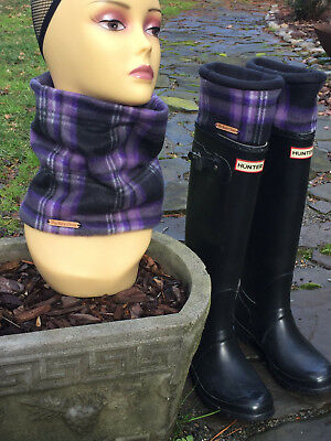 Hunter Boot Purple Plaid Cuff Liners, Fleece Socks, Neck Warmer - Plaid Hunter Boots