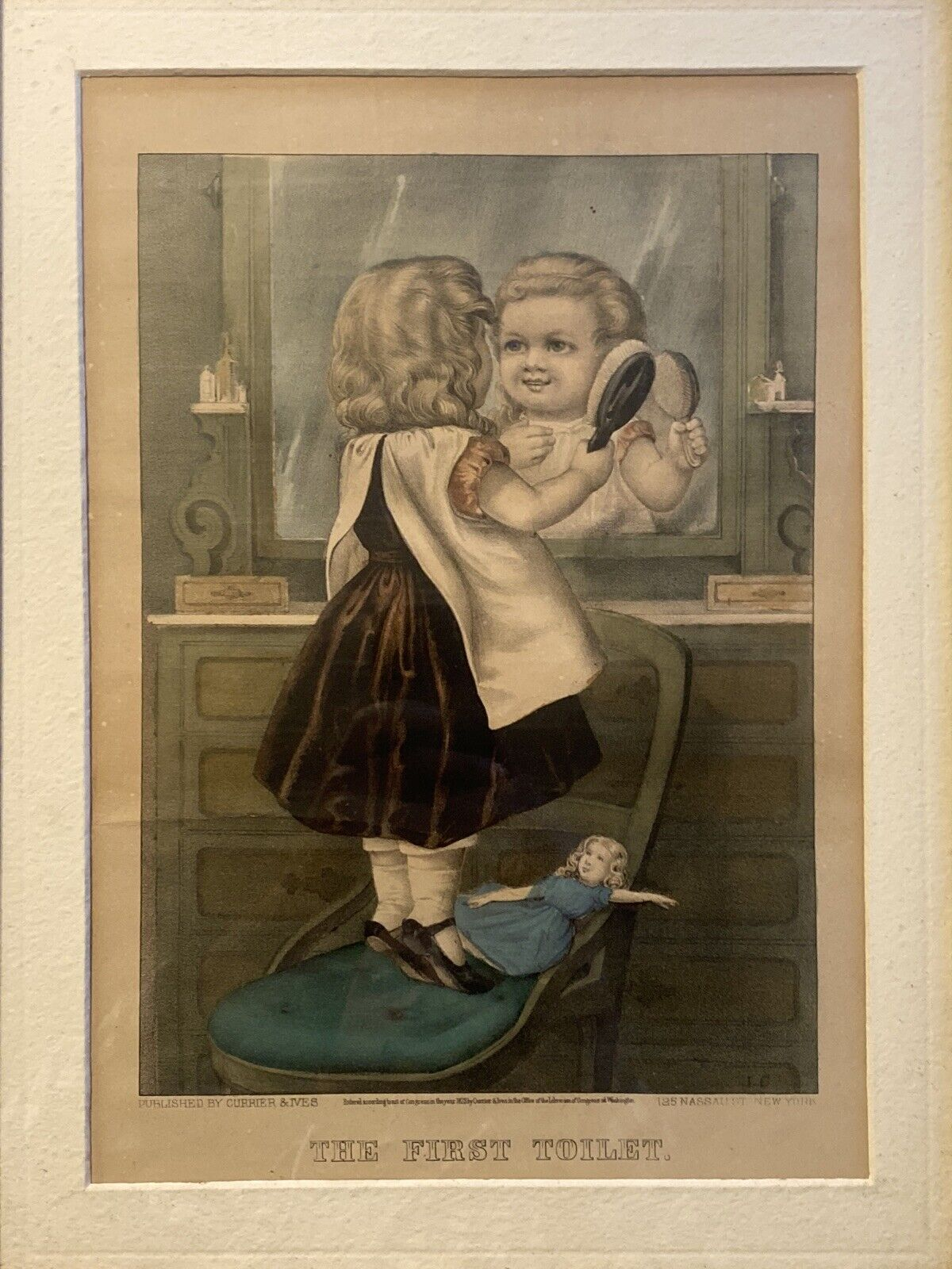 The First Toilet Victorian 1873 Currier Ives Childrens Print Framed 14X18 Nice - $49.00