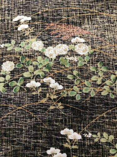 @@ 102 cmx 36 cm Japanese kimono silk fabric/ smooth crepe/ black base EX94