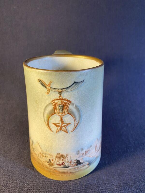 "Antique Shriner Mug 4.5"" Egyptian Copyright Pf & Co. NY 1907 -Crazing"