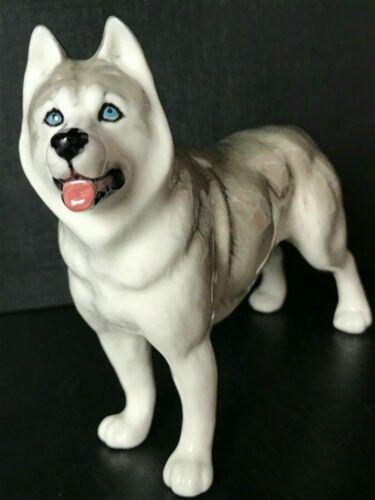 Husky figurine dog porcelain handmade cute souvenir homedecor