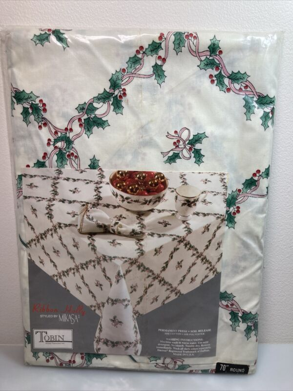 """Vintage Ribbon Holly By Mikasa Christmas Tablecloth 70"""" Round NOS"""