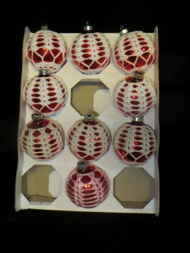 9 Vintage Wrapped Crocheted Red Glass Ball Ornaments