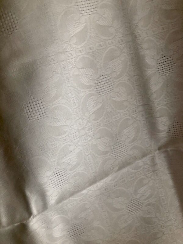 RARE vintage French DEADSTOCK SILKY damask LINEN FABRIC for TABLECLOTH c1930