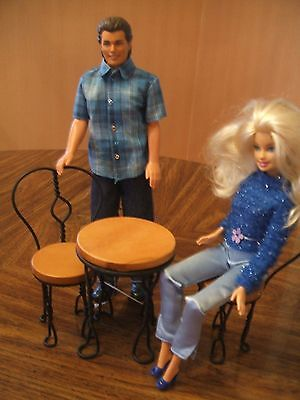 Doll Furniture Metal & Wood Table and Chair Set for Barbie Dolls by Dennis East