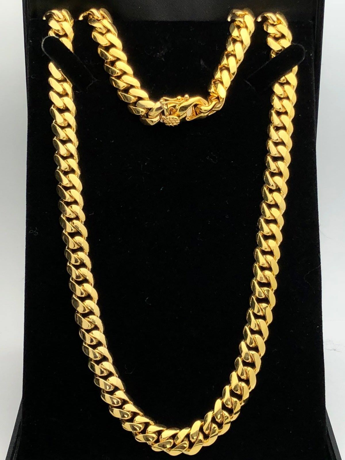 a717b34aa40a9 Details about Men's 10k Yellow Gold Solid Heavy Cuban Link Chain Necklace  24