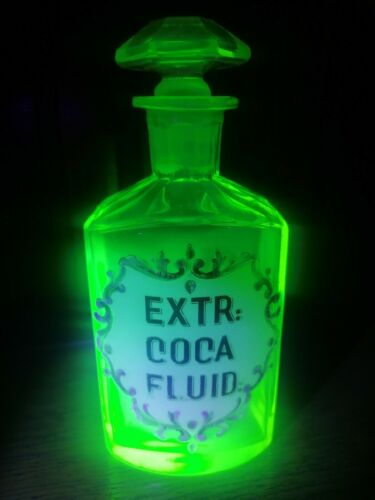 Antique enameled apothecary bottle uranium yellow glass Cocaine