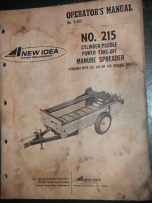 New Idea Model 215 Power Take Off Manure Spreaders Operators Parts Manual