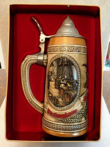 """Anheuser-Busch Budweiser Lidded Stein """"A Series"""" In Collector Tin"""
