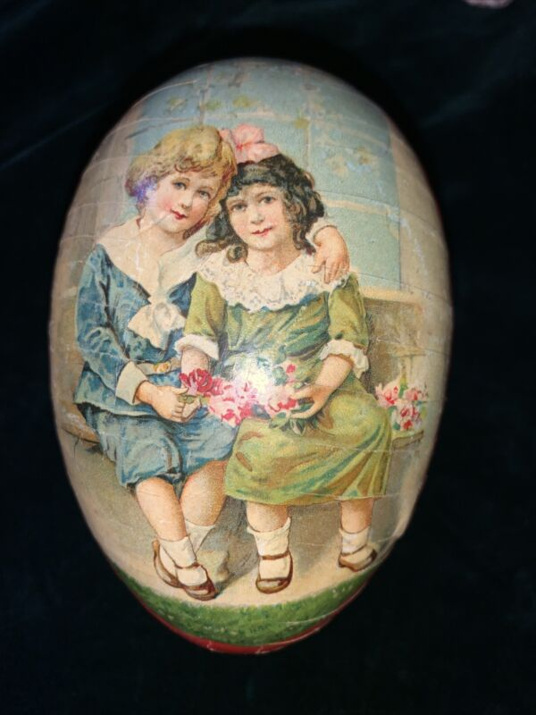VINTAGE Germany Paper Mache Easter Egg Candy Container Girl Boy